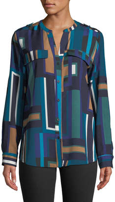 Iconic American Designer Abstract V-Neck Button-Down Top