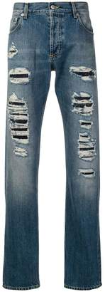 Alexander McQueen distressed straight-cut jeans