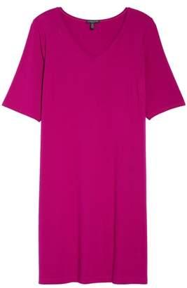 Eileen Fisher V-Neck Stretch Jersey Shift Dress