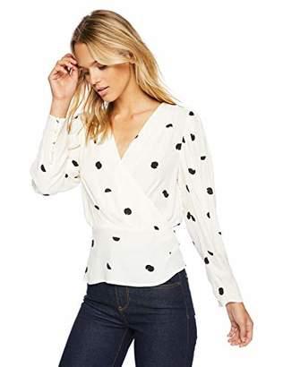 ASTR the Label Women's Mia Polka Dot V Neck Long Sleeve Shirt