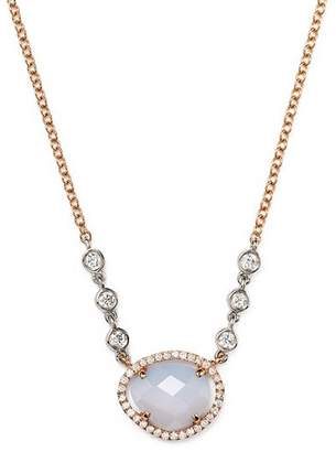 Meira T 14K Rose & White Gold Chalcedony Necklace with Diamonds, 16""