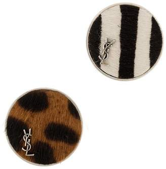 Saint Laurent printed pin badges