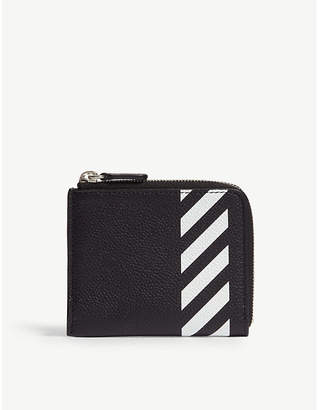 Off-White Diagonal stripe leather chain wallet