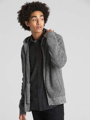 Gap Marled Ribbed Full-Zip Hooded Sweater
