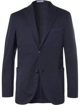 Boglioli Storm-Blue Unstructured Stretch Cotton and Linen-Blend Suit Jacket