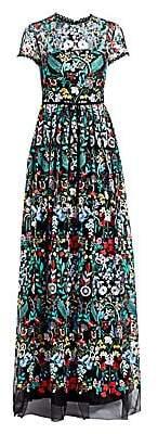 ML Monique Lhuillier Women's Floral Embroidered A-Line Gown - Size 0