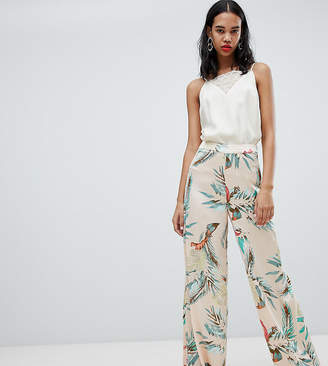 Missguided Satin Tropical Print Wide Leg Trousers