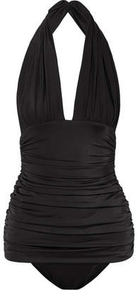 Norma Kamali Bill Ruched Halterneck Swimsuit - Black