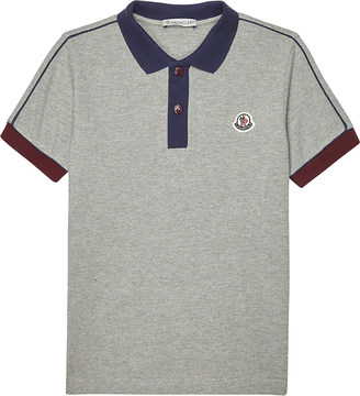 Moncler Striped sleeve cotton polo shirt 4-14 years $95 thestylecure.com