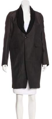 Rick Owens Collarless Knee-Length Coat w/ Tags