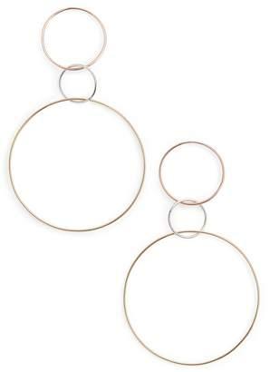 Lana Tri-Tone Three Hoop Wire Drop Earrings
