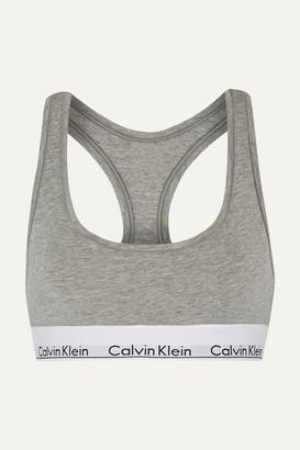 Calvin Klein Underwear Modern Cotton Stretch Cotton-blend Soft-cup Bra - Gray