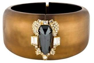 Alexis Bittar Hematine & Crystal Lucite Hinged Bracelet