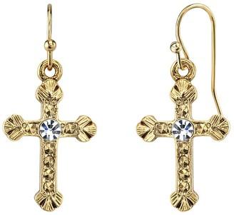 1928 Crystal Cross Drop Earrings