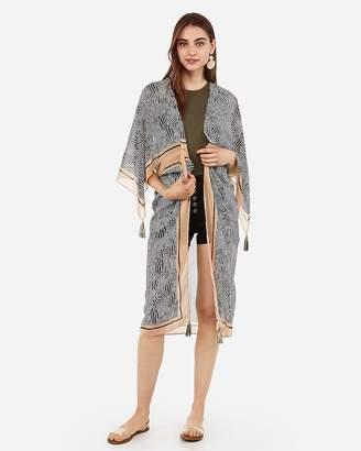 Express Zebra Print Kimono Cover-Up