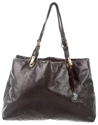 Lanvin Leather Ribbon-Accented Tote
