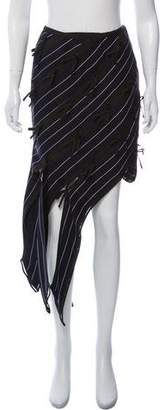 Self-Portrait Bow-Accented Striped Skirt