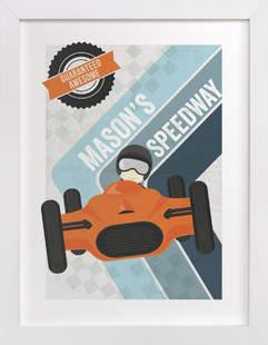 Retro Speedway Children's Custom Art Print