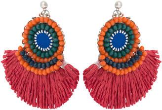 Oliver Bonas Wren Red Raffia Tassel Fan Earrings