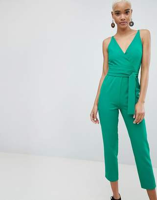8fba6028ae2 Asos Design DESIGN Wrap Front Jumpsuit With Peg Leg And Self Belt
