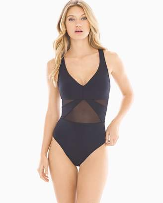 Bleu Rod Beattie Don't Mesh With Me Strappy V-Neck One Piece Swimsuit
