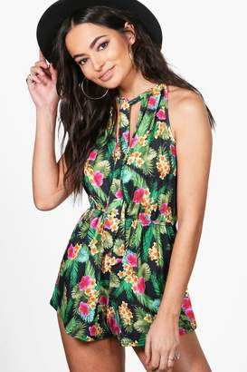 boohoo Tropical Print Deep Plunge Playsuit