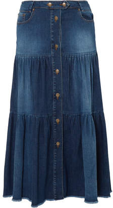RED Valentino Tiered Denim Midi Skirt - Indigo