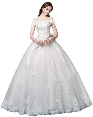 13283c9cba74 OkayBridal Okaybrial Women's Beach Wedding Dress Off Shoulder Appliques  Beading Ball Gown Bride Dress