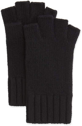 Bergdorf Goodman Fingerless Knit Cashmere Gloves, Black
