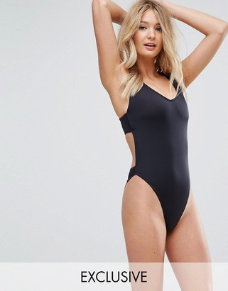 ASOS FULLER BUST Exclusive Plunge Side High Leg Swimsuit DD-G $26 thestylecure.com