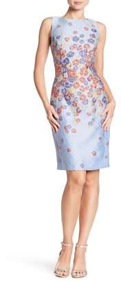 Badgley Mischka Floral Jacquard Sheath Dress