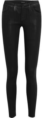 J Brand 620 Super Skinny Coated Mid-rise Jeans - Black