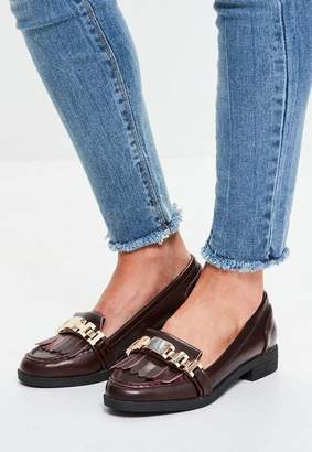 Missguided Burgundy Chain Tassel Loafers