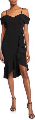 Bebe Off-the-Shoulder Crepe Ruffle Dress