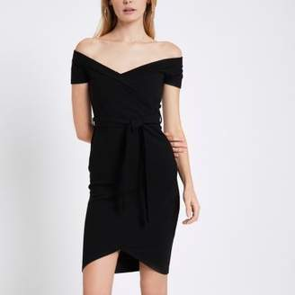 River Island Black ribbed bardot bodycon dress