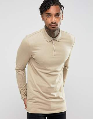 BEIGE Asos Design ASOS DESIGN longline muscle fit long sleeve polo in