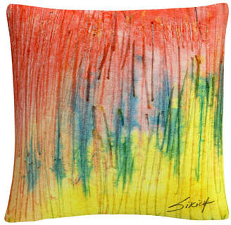 "Anthony Logistics For Men Baldwin Zigs Zag Red Yellow Abstract 16x16"" Decorative Throw Pillow by Sikich"