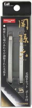 Kai Seki Magoroku Tweezers Set with Pouch Hc1834 by