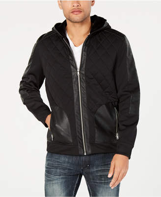 INC International Concepts I.n.c. Men Quilted Faux Leather Hooded Jacket