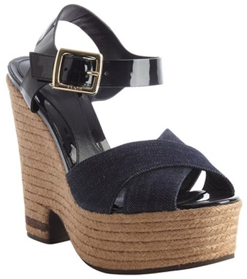 Fendi blue and black denim and leather jute platform sandals