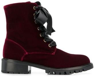 Via Roma 15 velvet lace-up boots