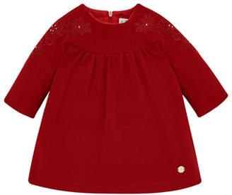 Carrera Pili Long-Sleeve Knit Dress w/ Flower Embroidery, Size 12M-4