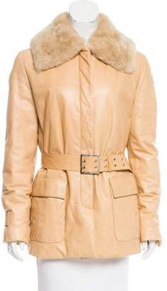 Salvatore Ferragamo Fur-Trimmed Leather Coat