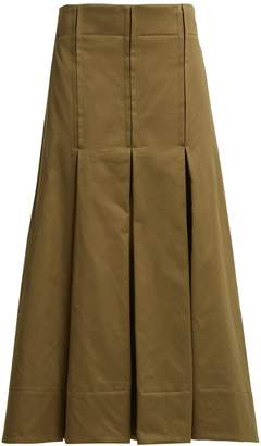 Marni Pleated cotton-sateen skirt