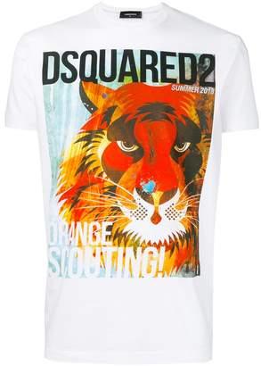 DSQUARED2 Orange Scouting lion print T-shirt