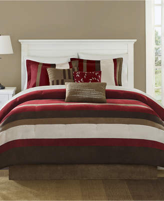 Madison Park Boulder Stripe 7-Pc. Faux-Suede California King Comforter Set Bedding
