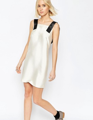 ASOS White ASOS WHITE Twill Satin Mini Dress with Strap Detail $122 thestylecure.com