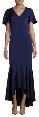 Shoshanna MIDNIGHT Cape Sleeve Hi-Lo Flounce Gown $660 thestylecure.com
