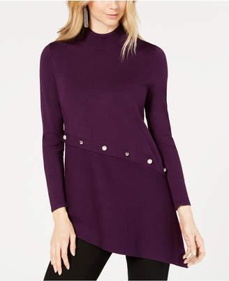 Alfani Asymmetrical Pearl-Trim Sweater