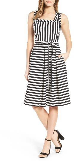 Anne Klein Women's Anne Klein Stripe Fit & Flare Dress